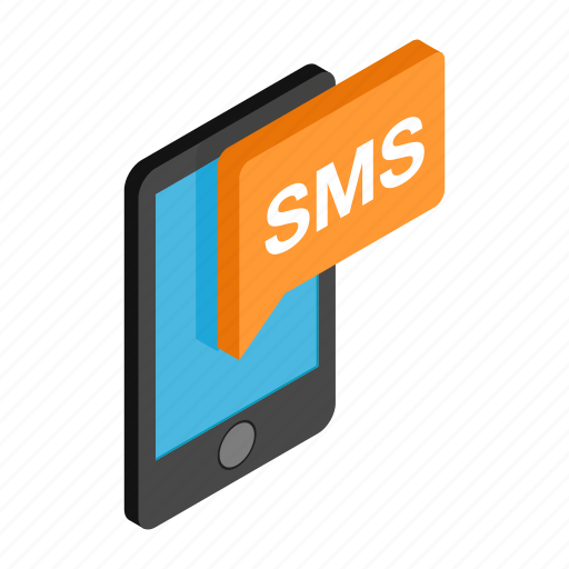 code, isometric, mms, phone, send, sms, texting icon