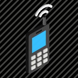 communication, isometric, mobile, old, phone, technology, telephone icon
