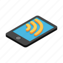 connection, internet, isometric, mobile, phone, smartphone, wireless icon
