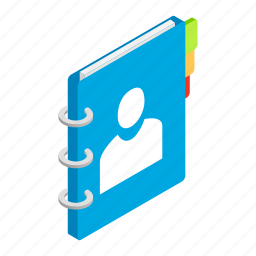 book, bookmark, isometric, note, notebook, page, spiral icon