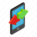 contact, incoming, isometric, outcoming, panel, phone, reflection icon