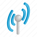 antenna, communication, isometric, network, tower, wave, wireless icon