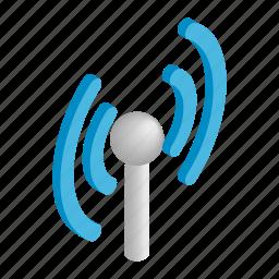 antenna, communication, isometric, network, tower, wave, wireless icon