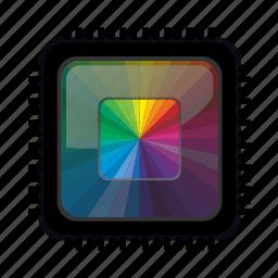 chip, colour, computer, cpu, microchip, processor icon