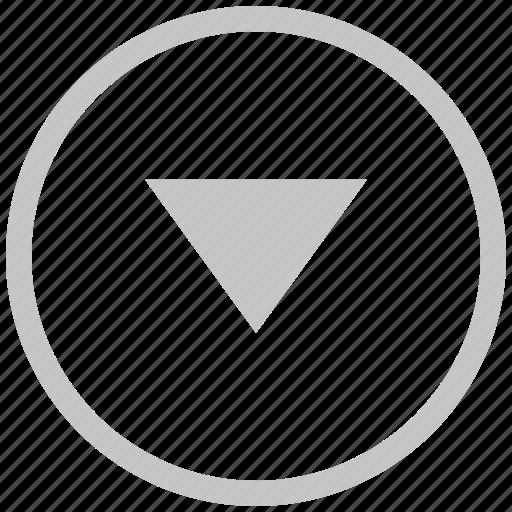 arrow, border, bottom, circle, down icon