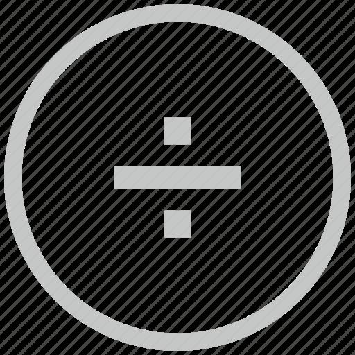 border, circle, divide, function, math icon