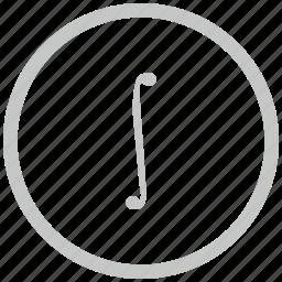 border, circle, function, integral, math icon