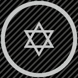 border, circle, israel, religion icon