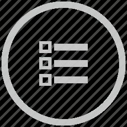 border, circle, list, listing, order icon