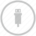 border, circle, mini, usb icon