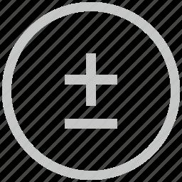border, circle, function, math, minus, plus icon