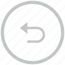 back, border, circle, return icon