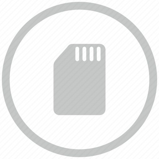 border, card, circle, phone, sim icon