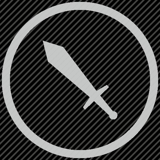 border, circle, sword, weapon icon