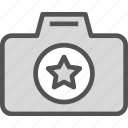 camera, device, photography, photoshoot, star icon