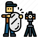assistant, camera, prodection, reflector, tripod