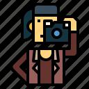 camera, photographer, photographic, shooting, woman icon