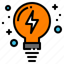 creativity, idea, lamp, lightbulb, thunder icon