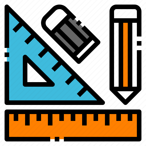pencil, rubber, ruler, stationary, tool icon