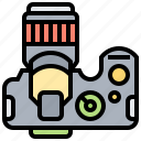 dslr, function, lens, top, view icon
