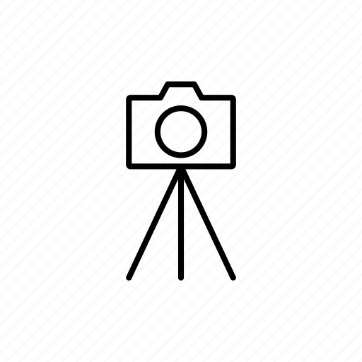 camera, outline, photography, tripod icon