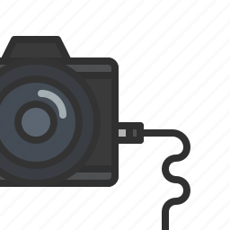 camera, dslr, import, photography, plug, wire icon