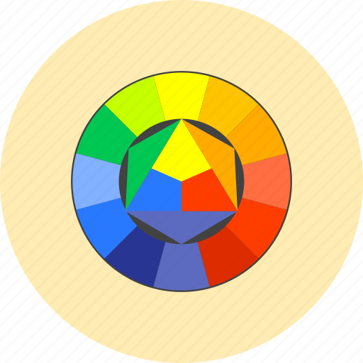 color, design, drawing, graphic, paint, tools, wheel icon