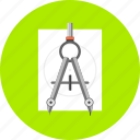 compas, design, dividers, drawing, geometry, paint, tool icon