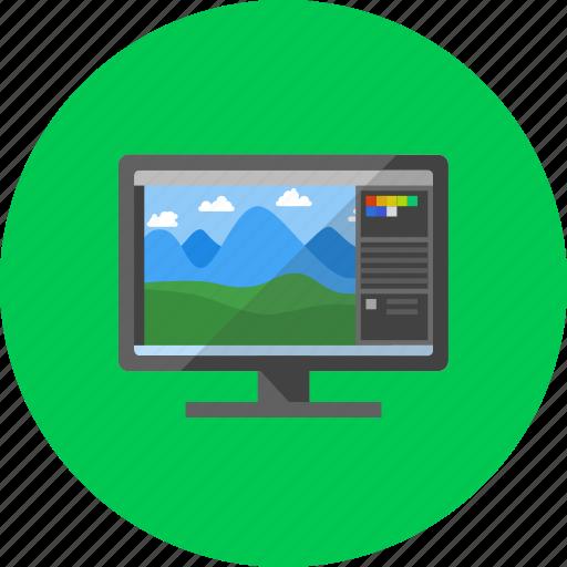 desktop, display, monitor, photoshop, program, software, technology icon