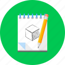 design, draw, drawing, graphic, pencil, sheet, sketch icon