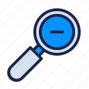 magnifier, minus, out, photography, search, seo, zoom icon