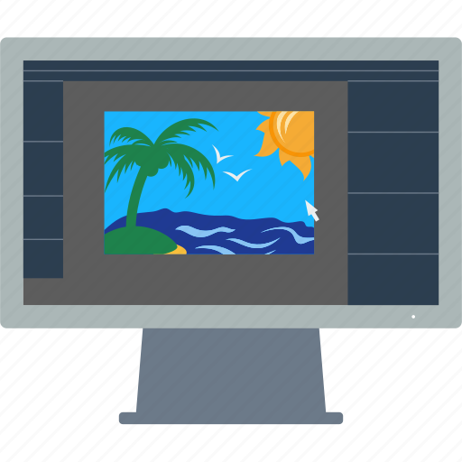design, editor, flat, monitor, photography, professional, retouch icon