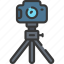 camera, dslr, on, photographer, photographs, photography, tripod icon