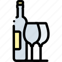 alcohol, beverage, bottle, drink, glass, set, wine icon