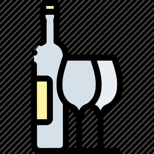 Alcohol, beverage, bottle, drink, glass, set, wine icon - Download on Iconfinder