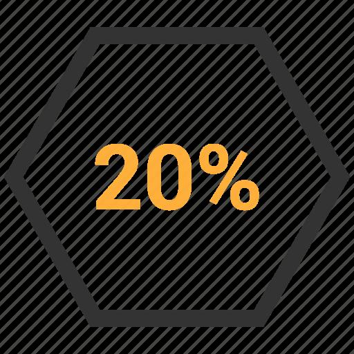 percent, pie chart, rate, revenue, twenty icon