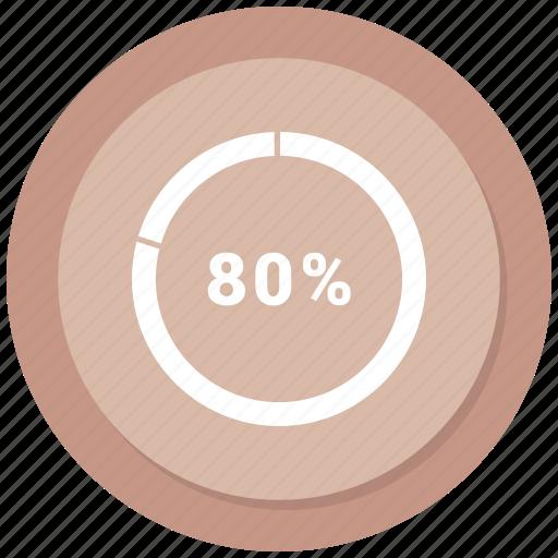 chart, eighty, graph, market, pie icon