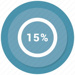 fifteen, percent, rate, revenue icon