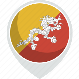 bhutan, country, flag, nation icon