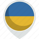 country, flag, pin, ukraine, world icon
