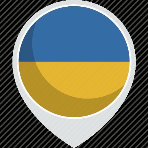 country, flag, pin, ukraine, world icon