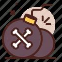 bomb, piracy, robbery, skull icon