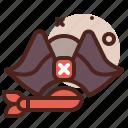 hat, piracy, robbery, skull icon