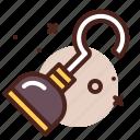 hook, piracy, robbery, skull icon