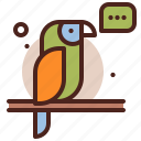 parrot, piracy, robbery, skull icon