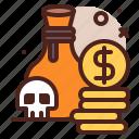 hunt, piracy, robbery, skull, treasure icon