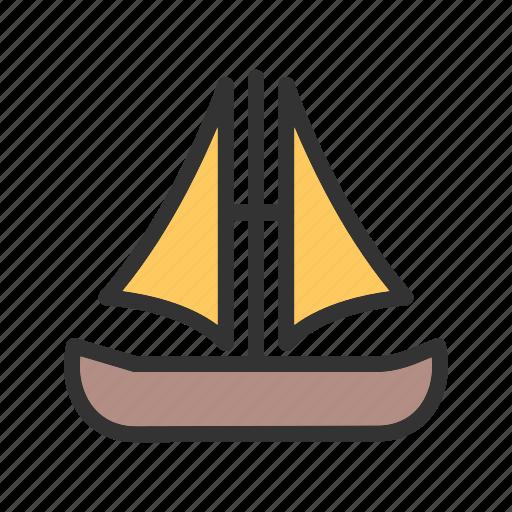 Wooden, sail, cartoon, flag, ship, pirate, boat icon