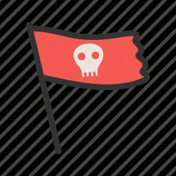 bone, color, danger, flag, pirate, sign, skull icon