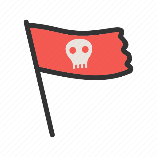 Skull, danger, color, sign, flag, pirate, bone icon