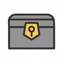 box, chest, gold, jewelry, pirate, treasure, wood icon